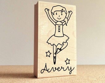 Personalized Ballerina Rubber Stamp for Children, Custom Ballet Stamp - Choose Hairstyle and Accessories
