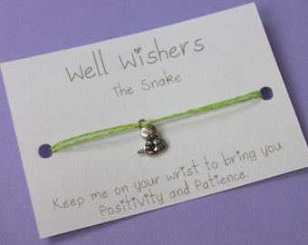 Snake Charm Bracelet - Positivity and Patience   wish bracelet, string bracelet, friendship bracelet, snake jewellery, personalised gift