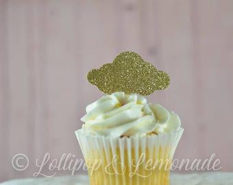 Cloud Glitter Cupcake Topper, 1 dozen