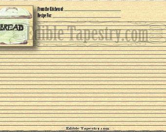 5 Watercolor Recipe Card Printable Set Retro Green Breadbox Bean Pod Citrus Typography Farmers Market Tomato Olive Lavender Oil Still Life