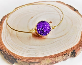 Gold Druzy, Druzy Bangle, Druzy Bracelet, Purple Druzy, Purple Bangle, Gold Dipped Druzy, Sparkly Bangle, Crystal Bangle, Purple Crystal
