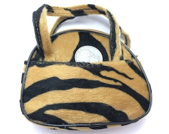"Choice of Animal Print Mini Purse or Change Pouch with Side Pockets, Felt  3.5"" x 4.5"" x 1.5""  -S112 - Variants Pictured In Order"