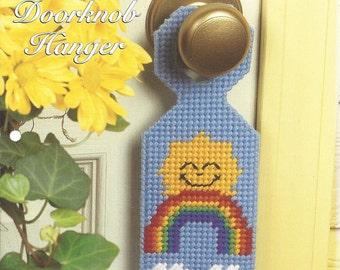Plastic Canvas Pattern Delightful Doorknob Hanger - Home Decor, Door Sign, Sunny Day Rainbow