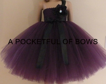 Black and Eggplant Plum Flower Girl Dress, Girls Formal Dress,  Plum Tulle Tutu Dress