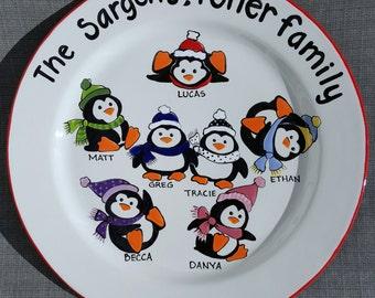 Custom Christmas Platter,  Personalized Platter,  Gift for Parents, Christmas Gift for Grandparents, Christmas Penguin Family Plate