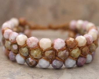 Multi Colored Cobblestone Charlotte's Web Shamballa Bracelet