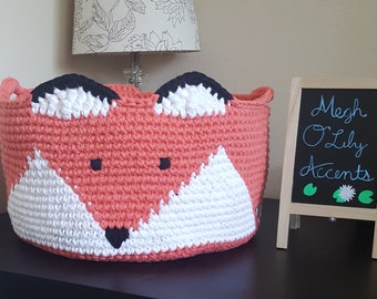 XL Fox Basket, Extra Large Cotton Basket, Handles Optional, Made to Order