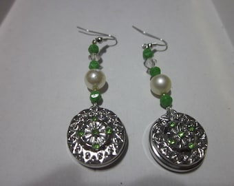 Bogo Snap Jewelry Sale 2nd 1/2 off! Free Shipping!  Ornate green rhinestone snap pearl glass beaded fish hook earrings ginger snaps jewelry