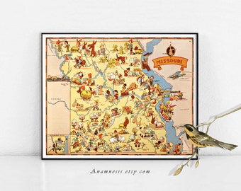 MISSOURI MAP - Enhanced High Res Digital Image Download - fun retro picture map to print & frame - lovely on totes, pillows, cards - map art