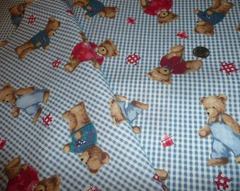 Blue Jean Teddy Bear Cotton Fabric Print