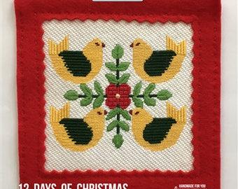 Four Calling Birds Christmas Needlepoint Canvas