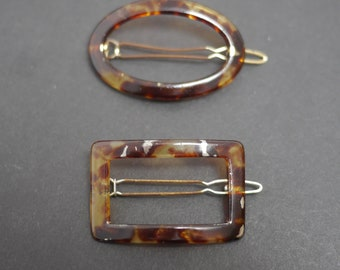 Two faux tortoiseshell vintage hair barrette clips