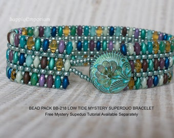 Bead Pack BB-218 LOW TIDE 'Mystery Superduo' Bracelet  - Free Tutorial Available Separately, Bead Pack BB218 Low Tide Superduo Bracelet