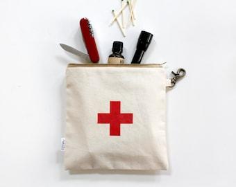 Father's Day First Aid Bag, Men, Women, Canvas, Utility, Zipper Pouch, Swiss Red Cross, Men, Pouch, Unisex, Organizer, Travel Bag, Women