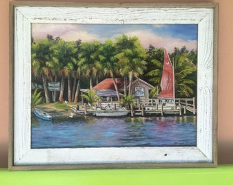 Honest Johns Bait and Tackle Canvas Giclee From Oil Painting Old Melborne Beach, Florida