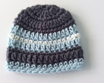 Crochet premie, baby boy hat, crochet baby hat