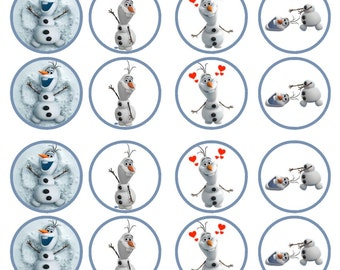 Frozen Olaf Edible Wafer Rice Paper Cake Cupcake Toppers x 24 PRECUT