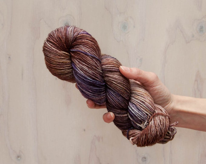 Hand dyed yarn, merino yarn, nylon yarn, dk yarn, hand dyed dk yarn, variegated yarn, purple yarn, grey yarn, brown yarn, dk yarn