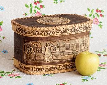 Bread bin, Small wooden bread box bin container, Birch bark farmhouse breadbox, 5th anniversary gift, Kitchen food storage box