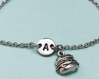 Hamburger charm bracelet, hamburger charm, hamburger adjustable bracelet, personalized bracelet, initial bracelet, monogram