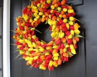 SUMMER WREATH SALE Spring Wreath- Mothers Day Gift- Door Wreath- The Original Spring Tulip Wreath- 18 inch, custom colors