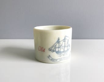 Vintage Old Spice Shaving Mug, Nautical Mug, Vintage Old Spice, Early American Old Spice/ Milk Glass