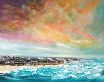 Cornish Dreaming- seascape, coastline, rocky, cornwall, sunset, sunrise, large painting, teal, sea, waves