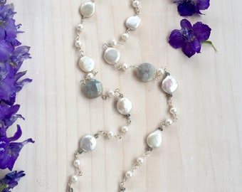 Labradorite and White Freshwater Pearl Necklace