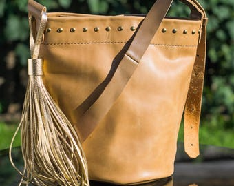 Bucket bag Bucket leather bag Brown leather bag