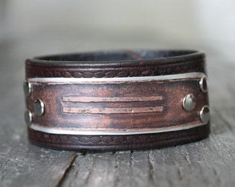 Parallel Lines Copper Cuff Bracelet Repurosed Leather