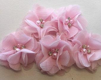 "2.5"" Blush Pink Chiffon Flower with Pearl and Rhinestone Center set of 5"