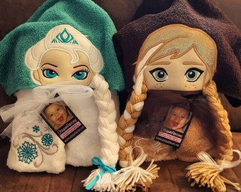 Frozen Princess and Queen Inspired Hooded Towels with optional Personalization