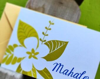 Mahalo Hawaiian Thank You Folded Note Cards - Set of 10