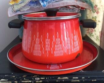 Vintage Fondue Pot, Atomic Enamelware Set, Orange Enamel Fondue Pot