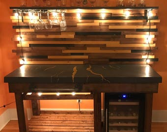 Concrete Bar with engraved Finger Lakes in Gold Leaf
