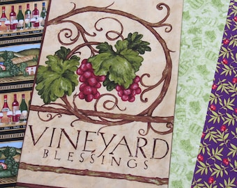 Wine Quilt Kit-Vineyard Blessings-All Pre-Cut/Included Backing and Binding-Gorgeous Fabrics-Wine Lovers-Quilt-Wall Hanging