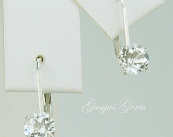 White Topaz Leverback Earrings Sterling Silver 5mm Round 1.10ctw