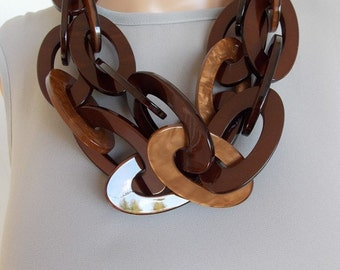 Chunky Brown Tortoiseshell Chain Statement Necklace