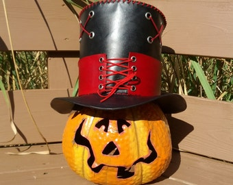 Leather Mad Hatter tophat with corset