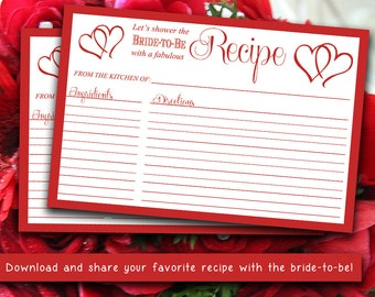 """INSTANT DOWNLOAD Bridal Shower Recipe Card 