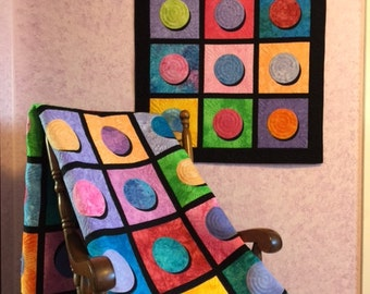 """SALE, Buy 2/Get 1 Free -- CIRCLES & SHADOWS, pdf quilt pattern, Wall Hanging (33"""" X 43"""") or Quilt (77"""" X 87"""")"""