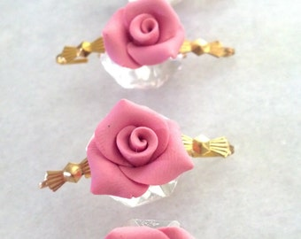 5 Pink Chandelier Roses 18mm Shabby Chic Chandelier Crystals