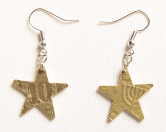 Star earrings upcycled coin, FREE SHIPPING, Upcycling, Upcycle jewelry