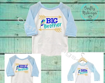 BIG brother MIDDLE brother LITTLE brother matching shirts, welcoming little brother, have sister listing as well, can be customized