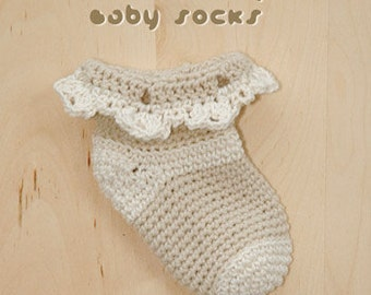 Crochet Baby Socks Pattern Irish Baby Socks Shoes Beige Crochet Baby Socks Crochet Pattern Lace Socks Crochet Pattern (ICS01-K-PAT)