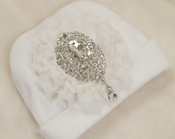 White Infant Baby Girl Beanie Hat with Off White Chiffon and  Large Rhinestone Medallion