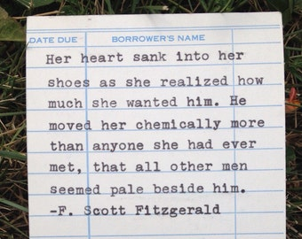 F. Scott Fitzgerald quote hand typed on library due date card
