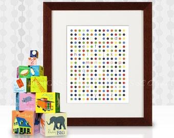 Abc's Modern Dot chart -  8x10 - DIY Printable - INSTANT DOWNLOAD