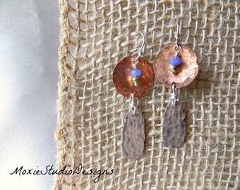 Mixed Metal Earrings, Mixed Metal Jewelry, Copper and Silver Earrings, Artisan Earrings, Jade Earrings, Hammered copper earrings