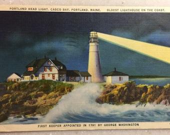 Vintage Postcard Portland Head Light Casco Bay Portland Maine Oldest Lighthouse on the Coast 1951 Linen